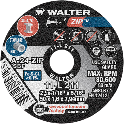 "CUT-OFF WHEEL A-24 ZIP 2""X1/16""X5/16"" YC582 