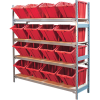 Wide Span Shelving with Jumbo Plastic Bins RL980 | Ontario Safety Product