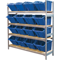 Wide Span Shelving with Jumbo Plastic Bins RL981 | Ontario Safety Product