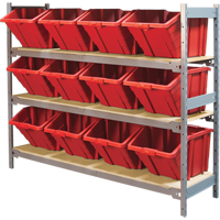 Wide Span Shelving with Jumbo Plastic Bins RL984 | Ontario Safety Product