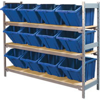 Wide Span Shelving with Jumbo Plastic Bins RL985 | Ontario Safety Product