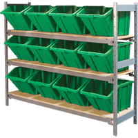 Wide Span Shelving with Jumbo Plastic Bins RL986 | Ontario Safety Product