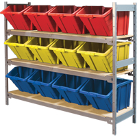 Wide Span Shelving with Jumbo Plastic Bins RL988 | Ontario Safety Product