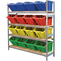 Wide Span Shelving with Jumbo Plastic Bins RL989 | Ontario Safety Product