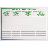 First Aid Kit Inspection Report Cards SAY532 | Ontario Safety Product